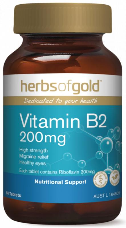 Herbs Of Gold B2 200mg 60 TABLETS Mild Migraine Relief
