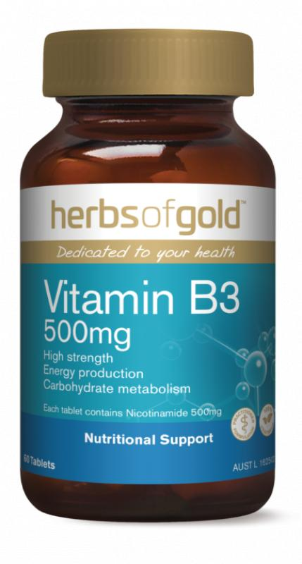 Herbs Of Gold Vitamin B3 500mg 60 TABLETS Supports Energy Production
