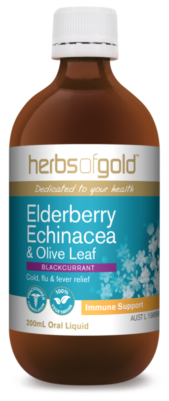 Herbs Of Gold Elderberry, Echinacea And Olive Oil 200ml Blackcurrant Immune Support