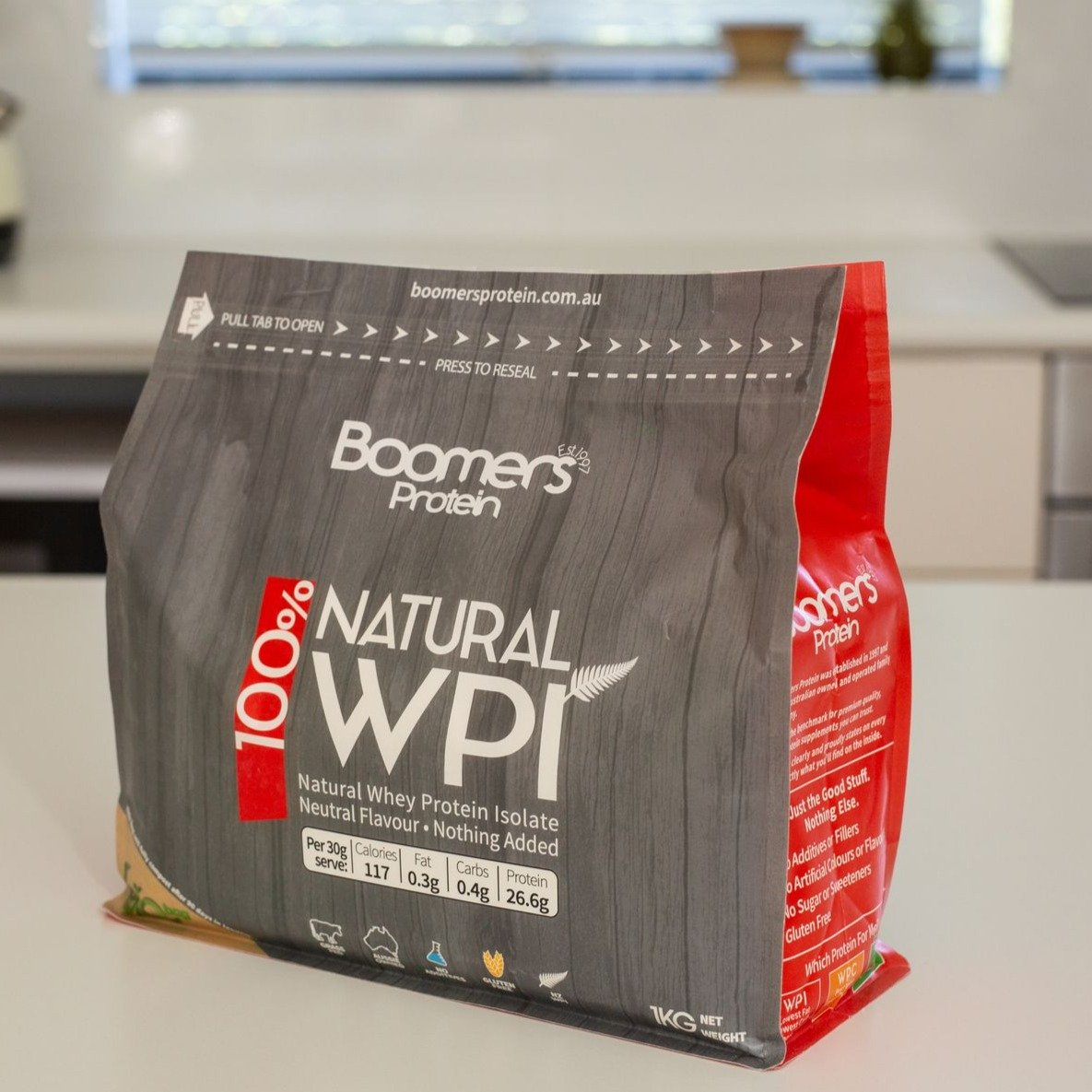 Boomers Protein Natural Whey Protein Isolate Neutral Flavour 1kg
