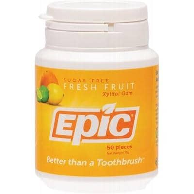 Epic Xylitol Chewing Gum Fresh Fruit 50 Pieces