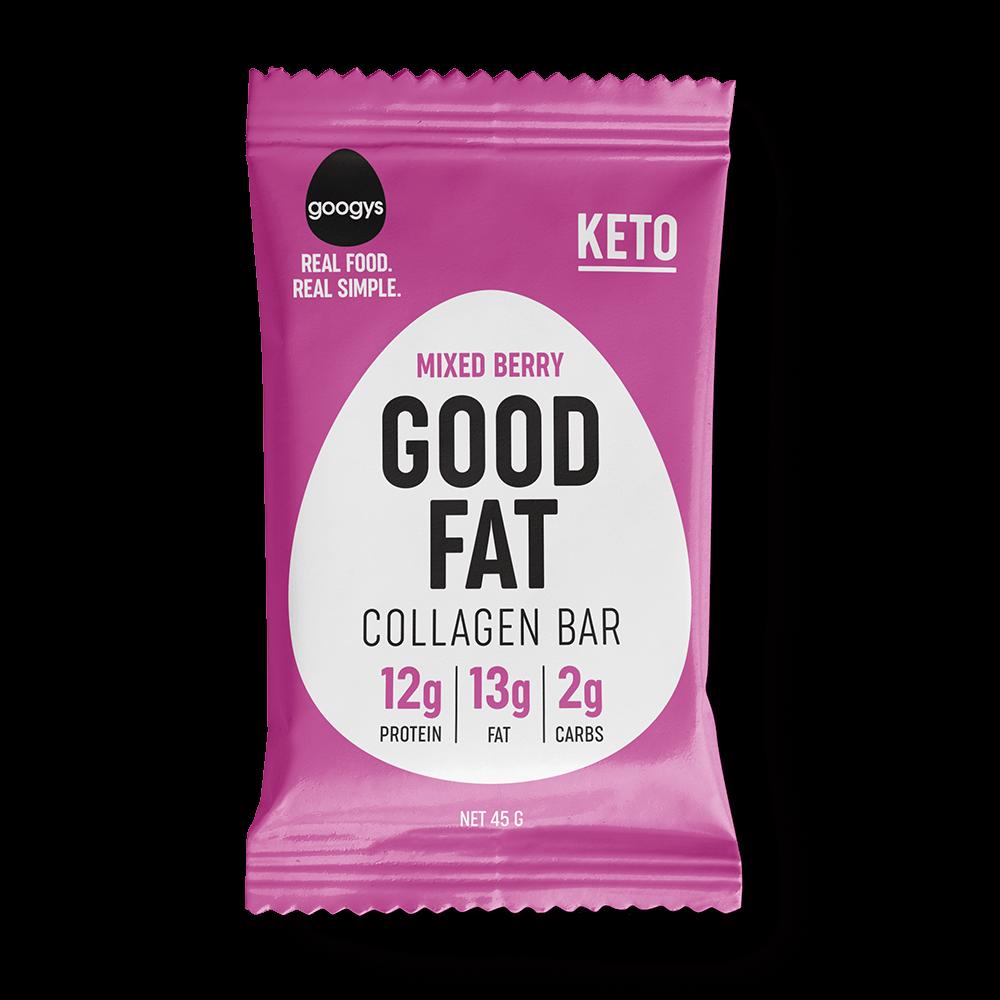 Googys Good Fat Collagen Bar Mixed Berry 45g